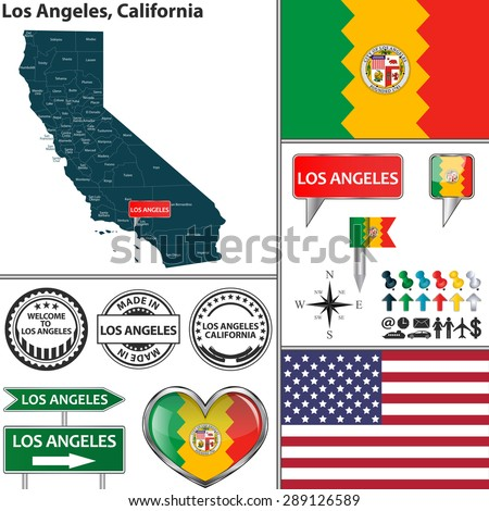 Vector set of Los Angeles, California in USA with flag and icons on white background - stock vector
