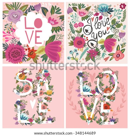Vector set of Love Cards, flowers hand drawn letters. - stock vector