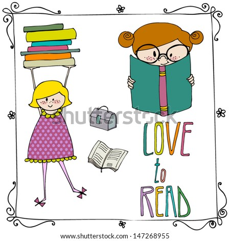 vector set of Love to Read elements - stock vector