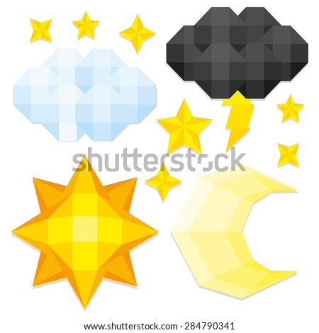 Vector Set Of Low Poly Style Elements Isolated   - stock vector