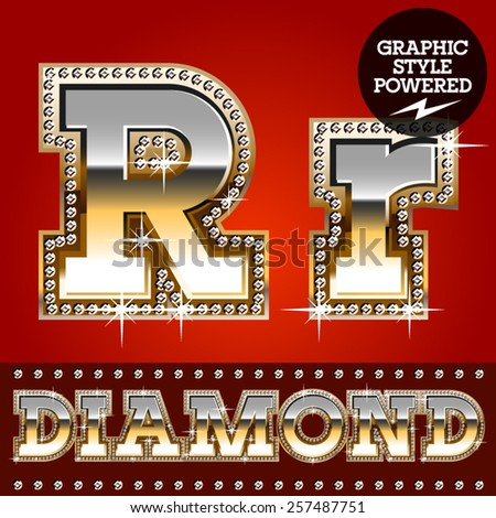 Vector set of luxury font in gold color with diamond border. Letter R - stock vector