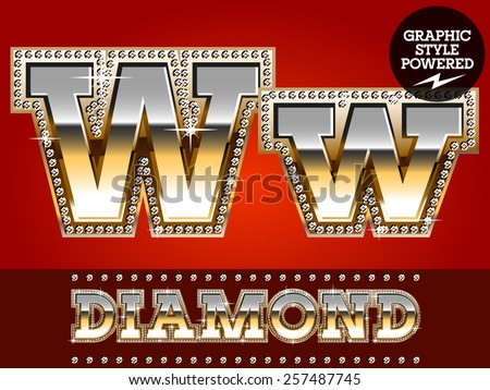 Vector set of luxury font in gold color with diamond border. Letter W - stock vector