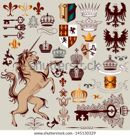Vector set of luxury royal vintage elements for your heraldic design