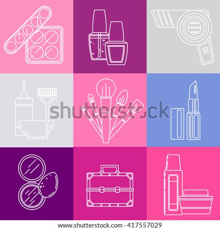Vector set of makeup items in trendy line art style. Collection with palettes, nail polish, hair dryer, hair coloring tools, brushes, sponge, powder, case, bottles. Illustration in soft pastel colors  - stock vector