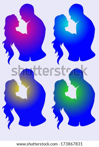 Vector set of man and woman silhouette  in love  - stock vector