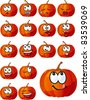 Vector set of many  various emotions in the form of pumpkin - stock vector