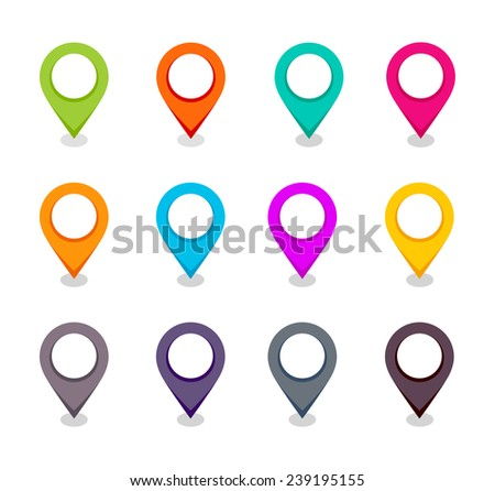 Vector set of map pointers - stock vector