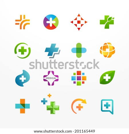 Vector set of medical logo icons with cross. Collection of signs with plus symbol. - stock vector
