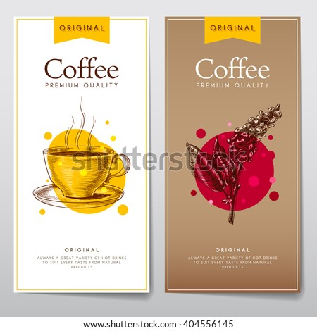 Vector set of menus for coffee. Coffee flyers for cafes or restaurants. - stock vector