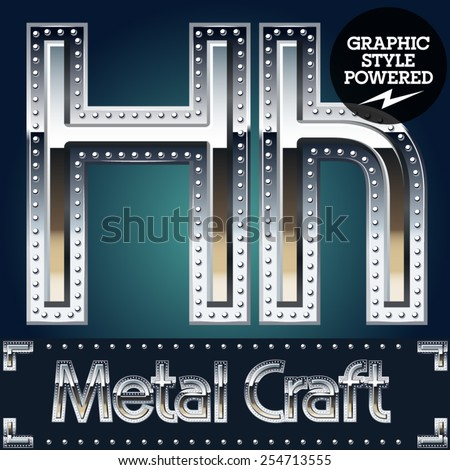 Vector set of metal aluminum alphabet with riveted border. Letter H - stock vector
