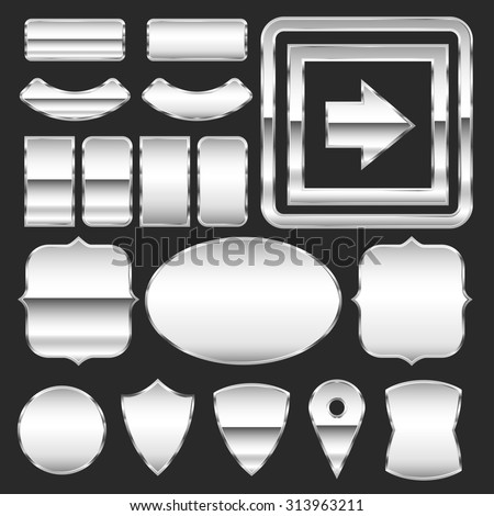 Vector set of metal plates of different shapes - stock vector