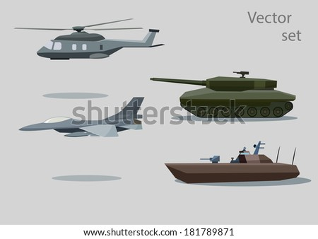 vector set of military vehicle with shadows isolated on gray background - stock vector