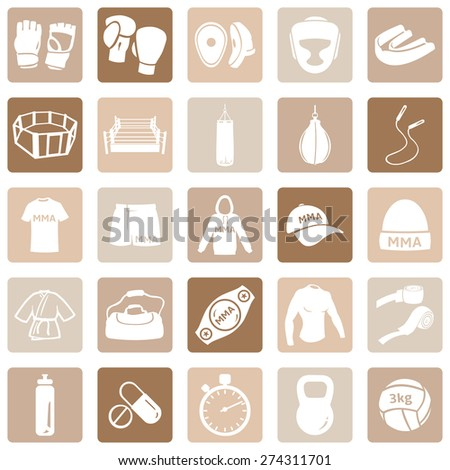 Vector Set of Mix Martial Arts Icons. MMA Icons.  Boxing, Kick Boxing, Thai Boxing, Wrestling, Grappling, Fighting, Training and Competition. - stock vector