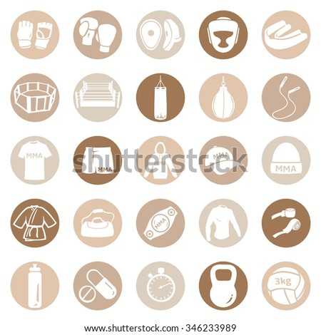 Vector Set of Mix Martial Arts Icons. MMA Icons.  Boxing, Kick Boxing, Thai Boxing, Wrestling, Grappling, Cross Fit. Fighting, Training and Competition. - stock vector