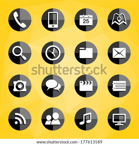 Vector set of mobile applications icons on a polygonal background