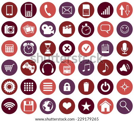 Vector Set Of Mobile Icons - stock vector