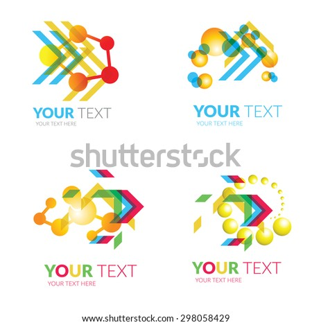 Vector set of modern abstract forms logos -  chemistry and molecule - stock vector