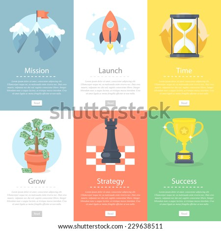 Vector set of modern business and finance concepts. - stock vector