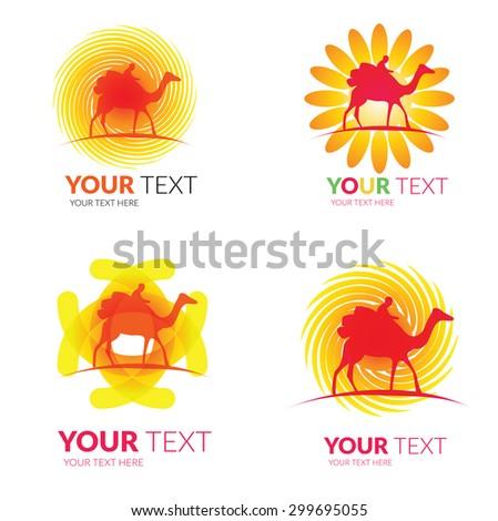 Vector set of modern camel rider logos -  colorful design - stock vector
