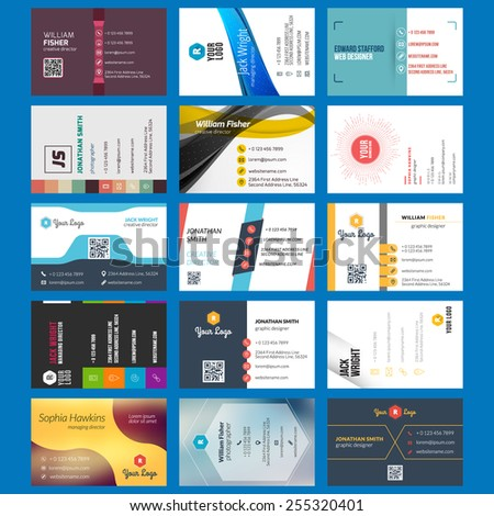 Vector set of modern creative business cards - stock vector