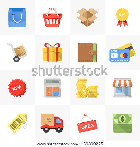 Vector set of modern flat and colorful shopping icons. - stock vector