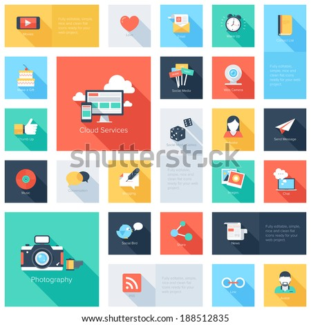 Vector set of modern flat and colorful social media icons with long shadow. Design elements for web and mobile applications. - stock vector