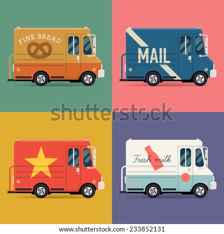 Vector set of modern flat icons on local delivery service vans | Multiple shipping service trucks such as mail truck, bakery truck and milk truck - stock vector