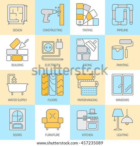 Vector Set Of Modern Flat Line Icons For Home Improvement Website Includes Objects Finishing Works
