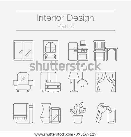 Vector set of modern flat line icons for interior design website includes furniture, decor elements and light design symbols. Interior design icons isolated on background part 2.  - stock vector