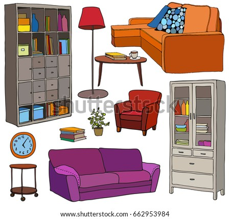 Vector Set Of Modern Furniture Objects, Bright Colors And Black Outline.  Bookshelf, Sofa