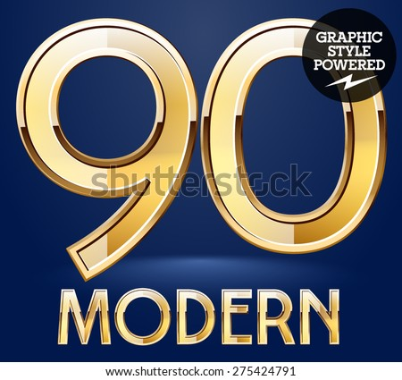 Vector set of modern golden glossy font. Numbers 9 0 - stock vector