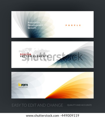 Vector set of modern horizontal website banners with grey soft wave shapes for business and beauty template with beautiful overlap effect. Web headers design. Creative corporate vector flyer. - stock vector