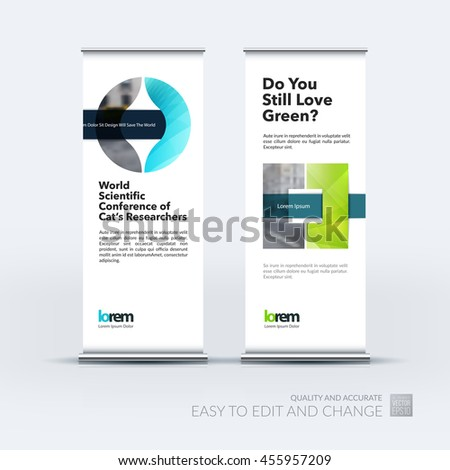 Vector set of modern roll up banner stand design with blue circle geometric shapes with overlap effect for business with construction and industrial concept. Corporate vector vertical flyer. - stock vector