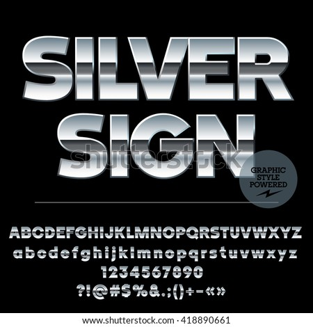 Vector set of modern silver alphabet letters, numbers and punctuation symbols. Sans ultra bold style - stock vector