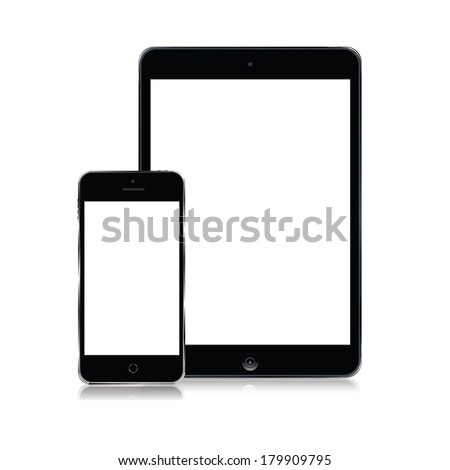 vector set of modern tablet and mobile phone - stock vector