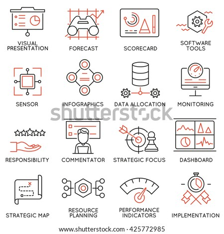 Vector Set of 16 Modern Thin Line Icons Related to Strategy Management System and Balanced Scorecard. Simple mono line pictograms and infographics design symbols - part 1