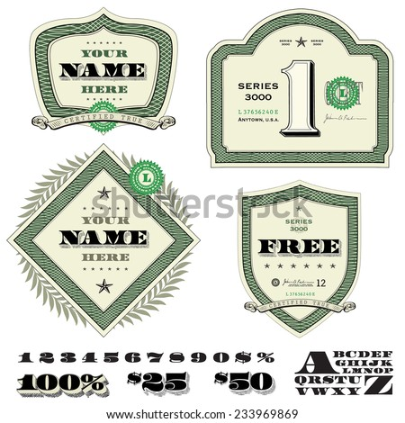 Vector Set of Money and Financial Frames. Easy to edit. - stock vector