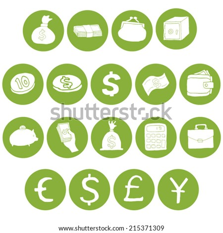 vector set of money icon