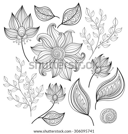 Vector Set of Monochrome Contour Flowers and Leaves, Floral Design Elements - stock vector