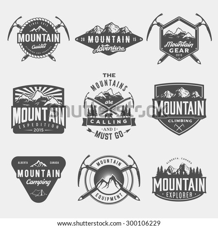 vector set of mountain exploration vintage logos, emblems, silhouettes and design elements. logotype templates and badges with mountains, forest, trees, tent, ice axe. outdoor activity symbols - stock vector