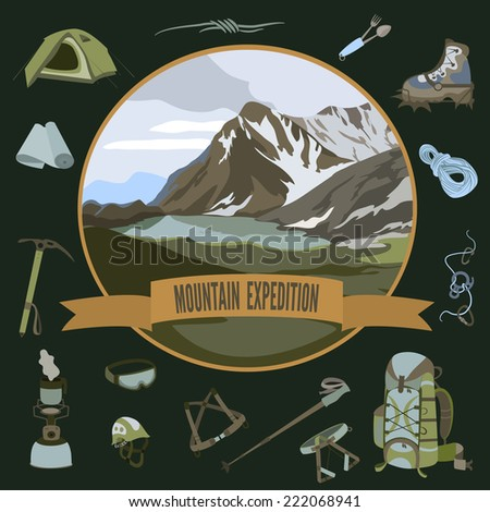Vector set of mountaineering icons and mountain landscape - stock vector