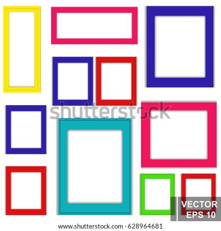 Vector Set Multicolored Frames Photo Square Stock Vector (2018 ...