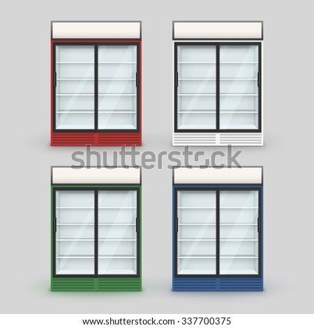 Vector Set of Multicolor Fridge Refrigerator Freezer With Transparent Glass Isolated on Background - stock vector