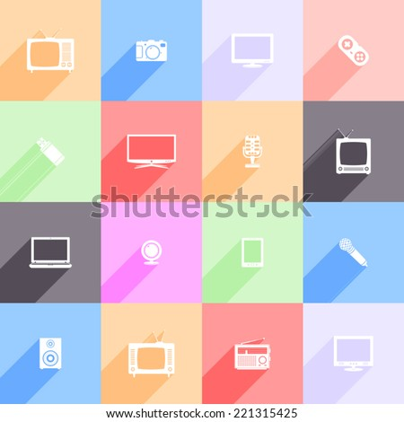 Vector set of multimedia flat icons with long shadow - stock vector