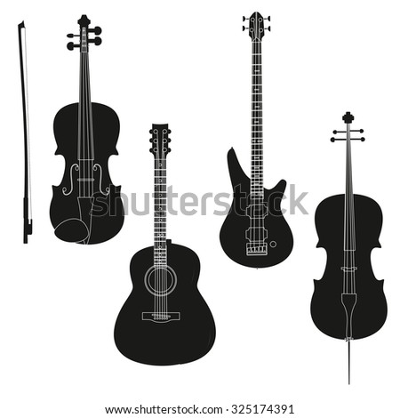 Vector set of Music instruments. Stringed musical instrument silhouettes on transparent background.