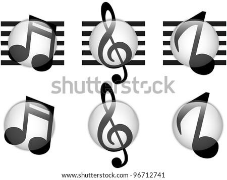 Vector - Set of Music Notes Glass Button - stock vector