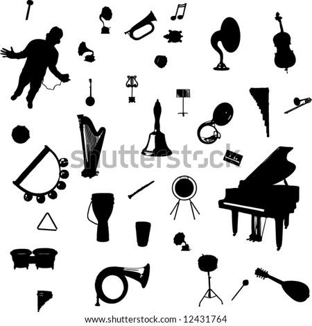 vector set of music related symbols - stock vector