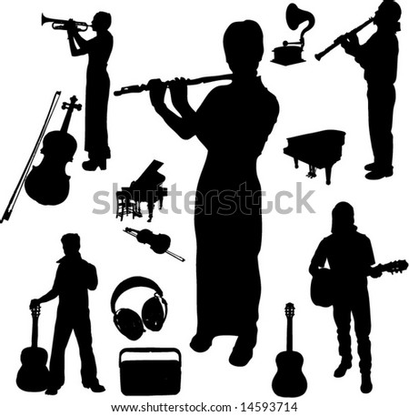 Vector set of Musical instruments and Players-6 - stock vector