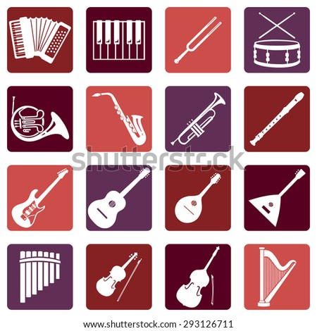 Vector Set of Musical Instruments Icons - stock vector