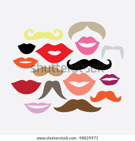 Vector Set of 16 Mustaches and Lips - stock vector